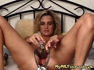 My Milf Exposed - Hude Objects And Wine Bottle In Her Pussy
