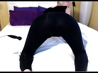 Blonde Teases In Yoga Pants And Dildo