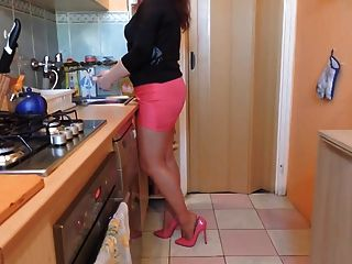 Dishwashing In Pink Skirt And High Heels