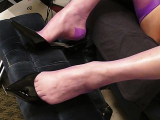 New Shoes, Violet Rht Stockings And Cum