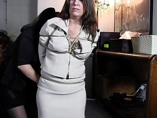 Business Lady Tied Up In The Office