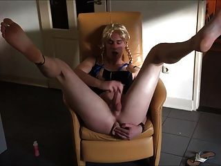 Young Crossdresser Cums In The Chair
