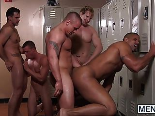 Muscular Football Dudes Playing With Their Balls And Cocks