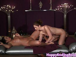 Closeup Classy Lesbian Fun During Oil Massage