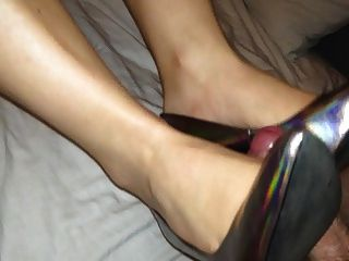 Shoejob And Cum On Her Holograph Heels