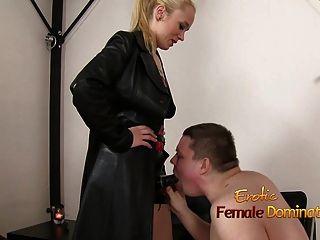 Slave Sucks His Mistress Big Strap-on