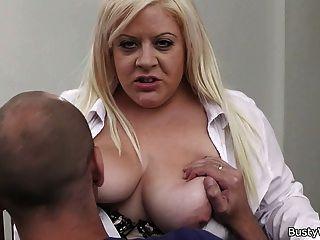 Busty Blonde Secretary Pleases Her Boss