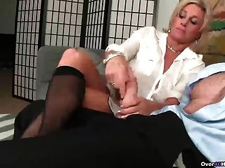 Stockings And High Heels Handjob