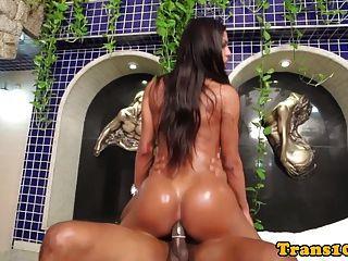 Bigbooty Latina Tranny Bouncing On Hard Cock