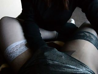 Shy Love My Dick In Pantyhose