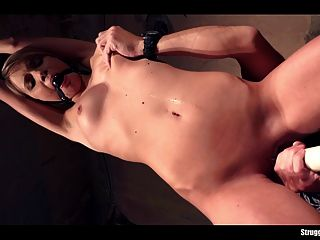 Angel Piaff Bound Ballgagged Whipped Dildoed Vibed