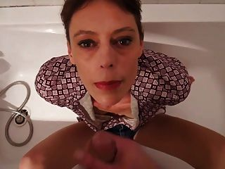 Short Hair Mature Takes Facial In The Bathtub