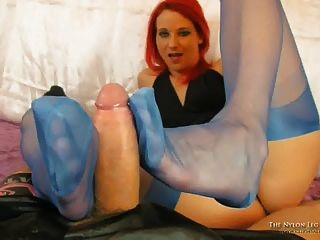 Blue Nylons Test On Cock
