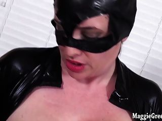 Busty Catwoman Maggie Green Plays With Pussy!