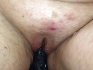 Bbw Taking A Huge Black Dildo