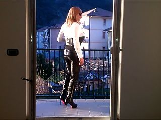 Hot Cd Leather Pants High Heels And Corset