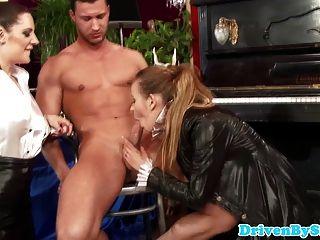 European Femdom Babes Dominate Male Slave