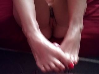 Naked Footjob With Red Toes