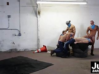 Horny Jocks Enjoying Bareback Fuck Fest In A Public Place