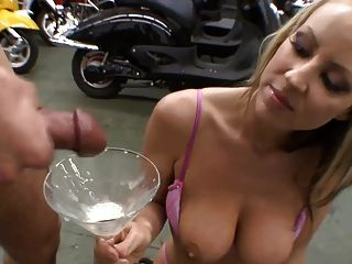 Swallow cum from glass slut load
