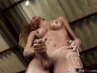 Big Ass Tranny In Bikini Jerks Off Her Shecock In Full Video