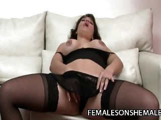 Sheina - Tranny On Red Lingerie Fucking A Busty Bitch