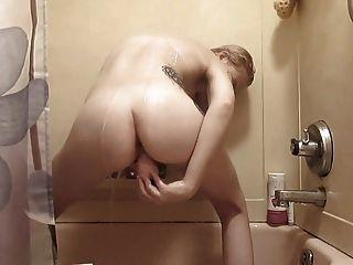 Quick Shower Dildo Play