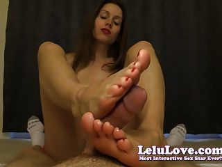 Lelu Love-red Nails Pov Footjob Cum On Toes