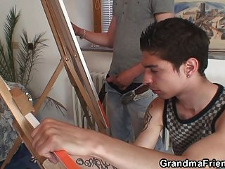 Old Grandma And Boys Teen Threesome