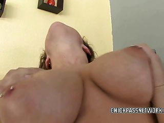 Busty Coed April Knight Takes The Cum On Her Huge Boobs