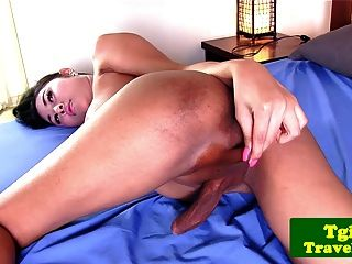 Busty Latina Jerking Dick Before Cumming