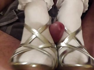 Footjob In Heels And Frilly Socks