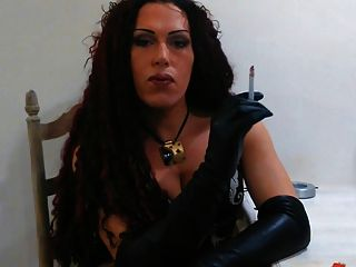 Smoking With Long Leather Gloves