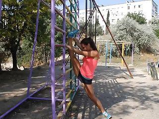 Hot Russian Babe Street Workout
