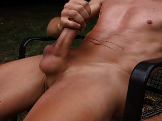 Outdoor Cumshot With Naked Hairless Penis
