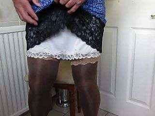 Pleated Skirt And Nylon Slip Wank