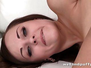 Hot Brunette Shows Her Big Natural Boobies