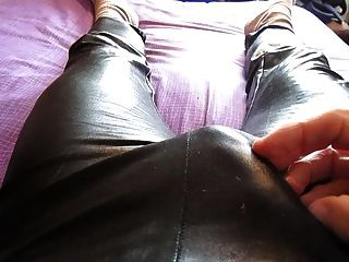 Wank And Cum In My Black Wet Look Leggings And Satin Panties
