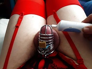 Sissy Katie Hands Free Chastity Cumming