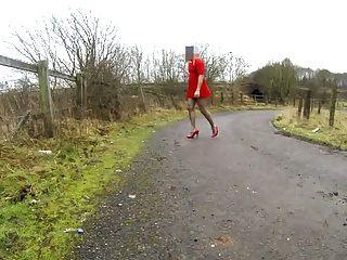 Tranny Slut Public Road Heels Dildo