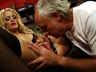 Long Haired Blonde Has Her Pussy Licked Before Getting Pinned Hard In Threesome