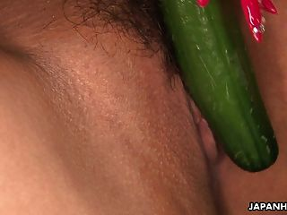 Asian Alluring Blonde Has A Cucumber Stuck In Her Pussy
