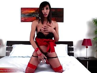 Short Hair Femboy In Red Stockings Fondles Cock And Nipples