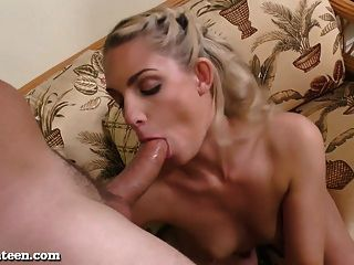 Hot Blonde Teen Gets Pounded On The Couch!