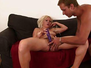Curvy Blonde Masturbates Before Stud Comes To Bang Her
