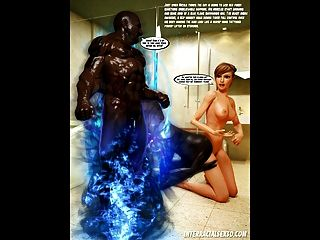 Big Trouble In Bathroom 3d Interracial