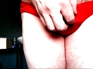 Red Satin Panty Cum Squirts