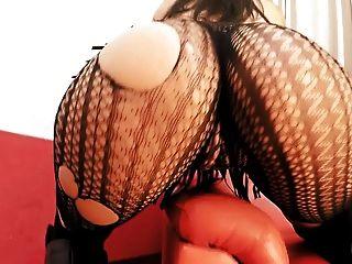 Best Ass Milf! Busty Brunette Masturbating With Dildo!