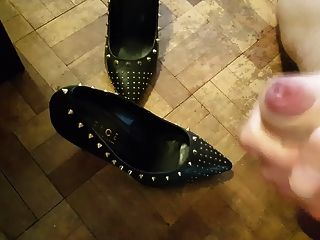 Cum In Studded Black Leather Heels