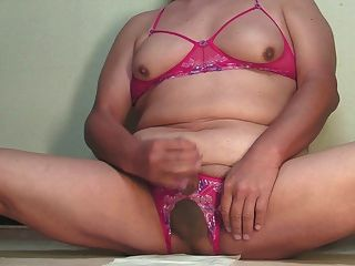 Jerkoff,edging & Cum In Erotic Lingerie Nov-17-2014